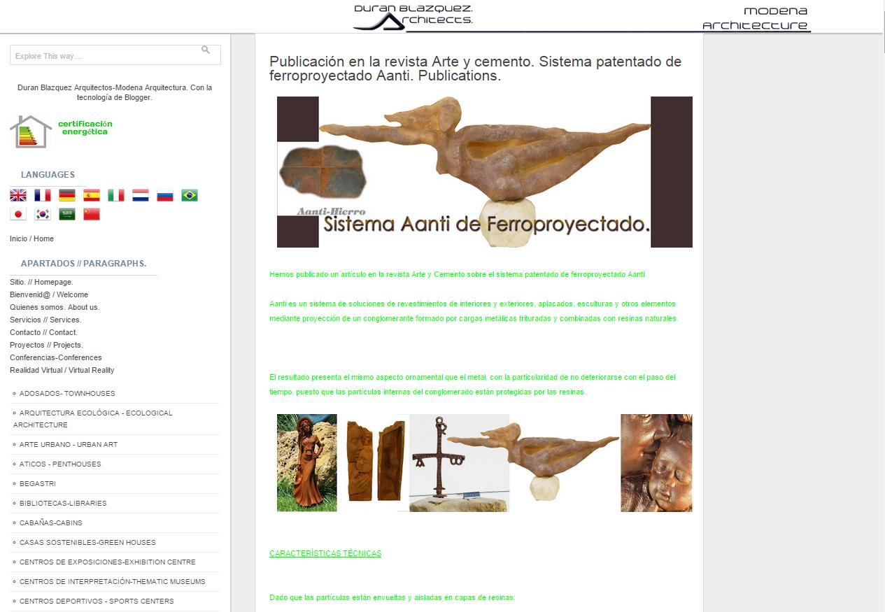 Aanti en Revista de arte y cemento